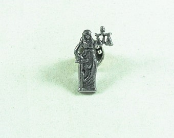 Tie Tack or Lapel Pin Silver Lady Justice Lawyer Mens And Womens Gift  Accessories Handmade