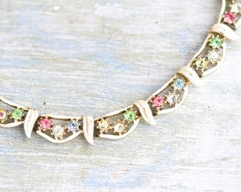 Colorful Bunting Necklace - Half Collar - Rhinestones and White Art Nouveau Leaves - Antique Short Necklace - Modern Cleaopatra