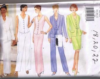 Butterick 4781 Misses / Misses Petite Jacket Top Skirt Pants - Sizes 18 20 22 - UNCUT
