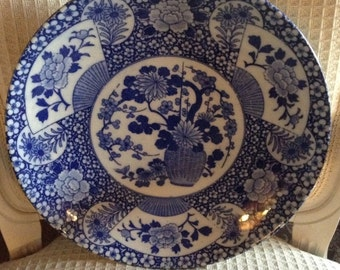 Vintage Blue and White Japanese Asian Imari Ware Platter
