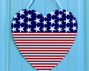 Patriotic Heart Wreath - July 4th Wreath - Memorial Day Decor - American Flag Wreath