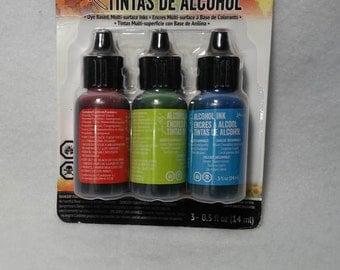 Alcohol Inks- Watermelon, Citrus and Sailboat Blue