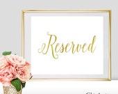 Reserved Wedding Sign - Reserved Sign - Gold Foil Reserved Sign - Silver Foil Reserved Sign - Rose Gold Foil Reserved Sign (FS2)