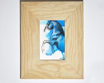 Original Fine Art, Horse Drawing Framed, Equine Art, Contemporary Art, Modern Art