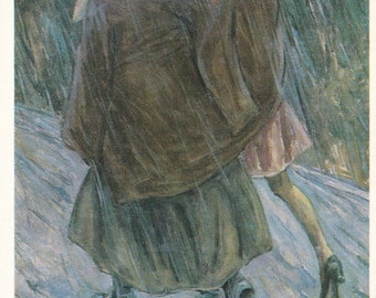 "N. Chernyshov ""In the rain (Grandmother and Granddaughter)"" Print, Postcard -- 1986"