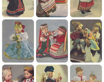 Dolls in Traditional Russian Costumes. Set of 9 Photo Prints, Postcards -- 1960s