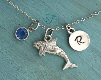 Orca Whale Necklace, Personalized Necklace, Silver Pewter Orca/ Killer Whale Charm, Custom Necklace, Swarovski Crystal birthstone, monogram
