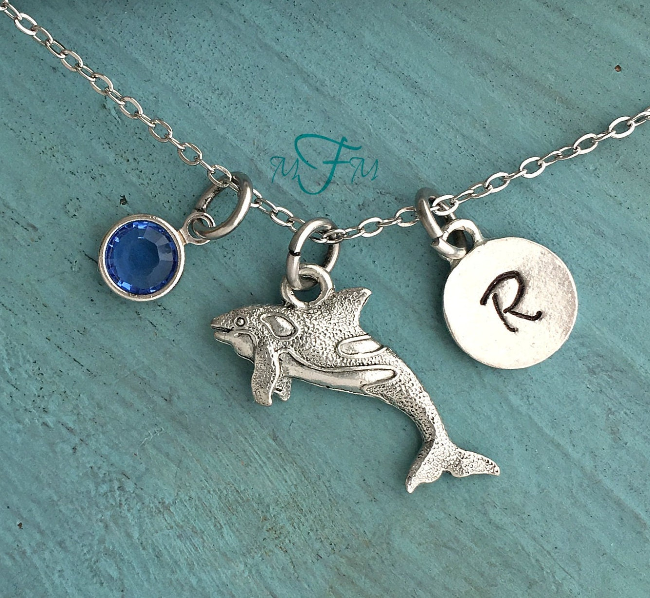 orca whale necklace personalized necklace silver pewter