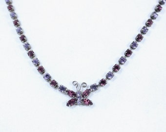 Silvertone With Purple and Lavendar Rhinestone and Butterfly Necklace