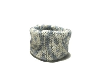 X Small White and Gray Wool Blend Winter Dog Neck Warmer, Designer Pet Puppy Accessory