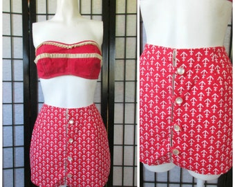 Vintage Skort Shorts by Jane Hunter 1950s 1960s Red White Anchor Motif 22 Inch Waist XS S Novelty Print Possibly New Old Stock High Waisted