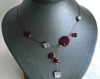 Illusion Necklace, Shell necklace, Bordo Gray Necklace, Statement Necklace, Summer necklace