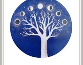 Purple Moonphase Print / Moon Art / Moonphase Illustration / Tree Art, Moon Phase Print / Moon Print / Phases of the Moon