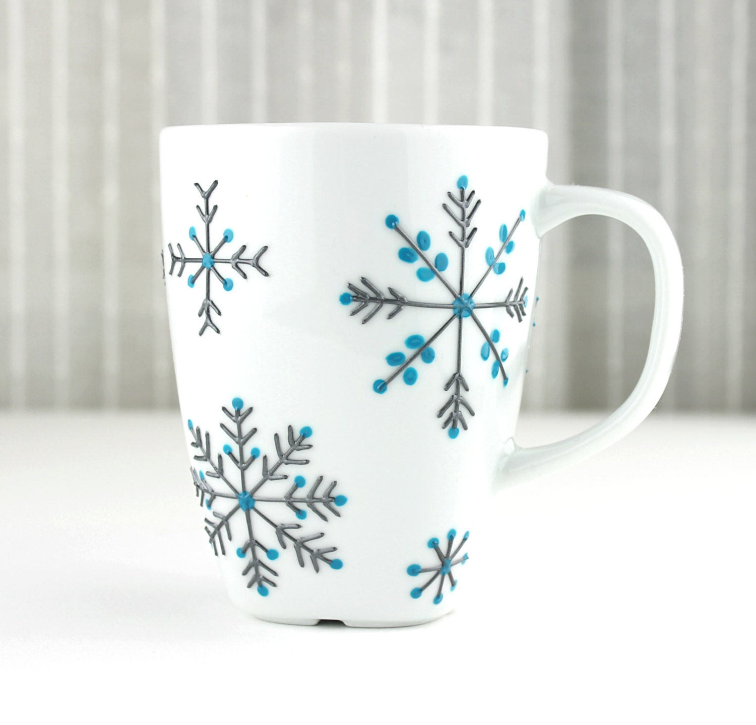 hand painted porcelain mug snowflake design tea by witchcorner. Black Bedroom Furniture Sets. Home Design Ideas