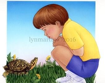 ORIGINAL STORYBOOK ART Boy and Turtle