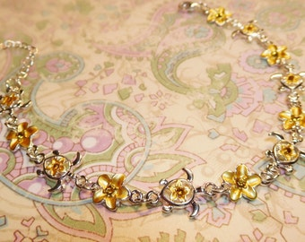 Golden Yellow Plumeria and Turtle Anklet