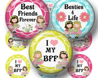 Best Friends Forever, Bottle Cap Images, Digital Collage Sheet, 1 Inch Circle, Pendant, Bows, Cabochon, Jewelry, Images, Printable, Download
