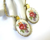 Reserved for RAJA….1960's Floral Sweater Clips, Sweater Guard, Porcelain