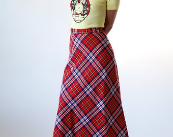 Vintage 50s Bright Red Plaid Maxi Skirt size 4 Small - B1