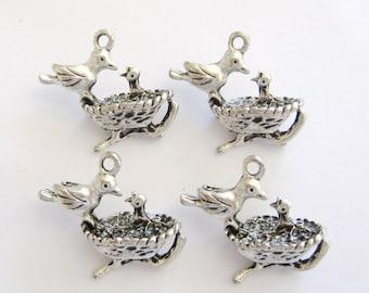 Bird Charm, Bird Charms,Bird Nest Charms, Pewter Bird Nest Charms, Silver color Bird Nest Charms, Bird Nests, Gemsalad Jewelry