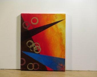 SFA abstract acrylic painting  Blue arrow