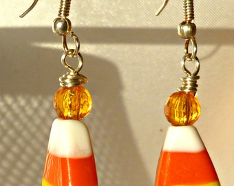 Halloween candy corn earrings, lightweight lampwork dangle earrings