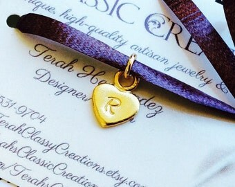 Vermeil Heart Pendant - 14 Karat Gold - Hand Stamped Initial Charm Necklace