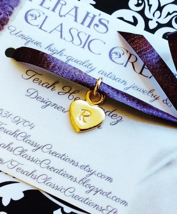 Vermeil Heart Pendant - 14 Karat Gold - Hand Stamped Initial Charm Necklace