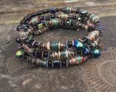 Paper bead memory wire bracelet