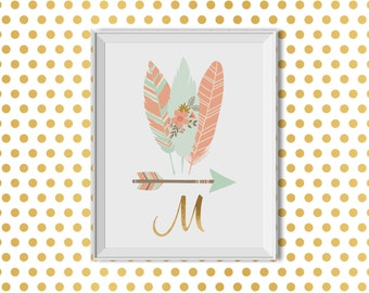 Tribal Nursery Art Girl, Tribal Nursery Decor Girl, Tribal Nursery Art Girl, Tribal Wall Decor Girl, Feathers Arrow Monogram, Pink Mint Gold