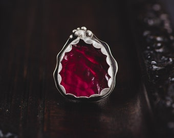 Ruby Sterling Silver Ring-Raw Ruby Ring-Rough Gemstone Ring-Floral Ruby Ring-July Birthstone Jewellery-Dark Romantic Rings