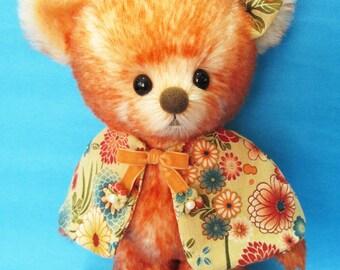 OOAK orange tipped mohair dressed artist bear, Momoko by YuYu Bear