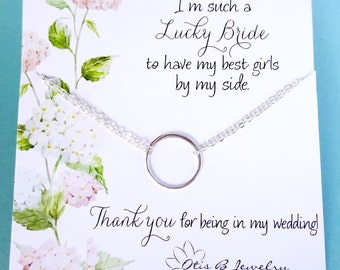 Silver circle necklace, Gold Eternity necklace, bridesmaid jewelry, bridesmaid card, wedding jewelry gift, be my bridesmaid