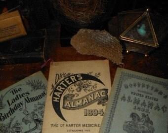 3 Antique Victorian Almanacs 1892 1893 1903 Medicinal Pharmacy Apothecary Promo