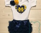 University of Michigan Inspired Bodysuit,Diaper Cover and Headband Set Made from UM Fabric,Michigan Baby,Wolverines Baby, Baby Girl Michigan