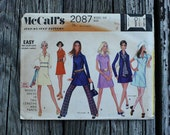McCall 2087 1960s 60s Mini Mod Dress Pants Vintage Sewing Pattern Size 8 Bust 31.5