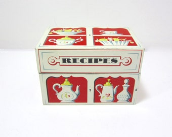 Recipe Tin, Red and White Recipe Tin, Mid Century, Retro 1950s, A Mayfair Creation Made in U.S.A. Red Kitchen Decor, Collectible