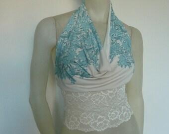 Romantic Tango Cowl Neck Halter Top Size US 4 to 6 Dancewear Evening Top stunning turquiose and white Print