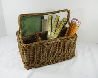 Vintage WICKER STORAGE BASKET Desk Organizer Utensil Kitchen Art Supplies
