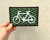 Bike, green zigzag stripe, 4x6 inch canvas,  freehand applique, all recycled fabrics, sewn on 1968 Singer, ready to hang