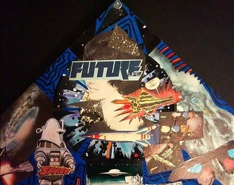 Blue Future Vinyl Record Collage