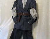 Boy's Peter From Narnia, Renaissance Costume: Fully Lined Doublet, Shirt, Pants, Cumberbund, & belt, Size 7 to 12, All Cotton, Made To Order