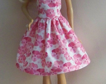 Handmade Barbie Doll Clothes- Pink and White Cotton Print Barbie Dress