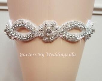 White  Wedding Garter / Crystal Bridal Garter /  Bling Wedding Garter/ White Garter Belt/ Single Garter