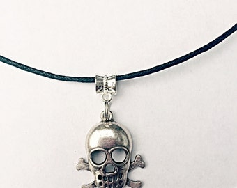 Skull And Crossbones Necklace - Skull Necklace - Skull Pendant - Halloween Necklace - Cord Necklace - Halloween Skull Jewelry