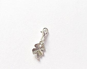 Silver Good Luck Charm - Good Luck - Luck Charm - Good Luck Charm - Silver Charm - Four Leaf Clover - Lucky Charm - Clip On Charm - Luck
