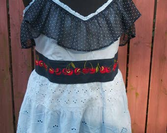 Light Blue Eyelet Blouse with Polka Dot Ruffle & Cherry Trim - Junk Gypsy Altered Clothing - Large