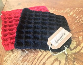 Hand Crocheted Black and Red Dishcloths