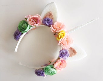 The Unicorn Crown pastel rainbow holographic flower crown