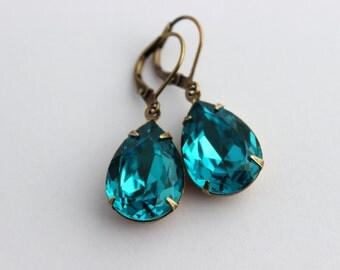 Swarovski Blue Zircon earrings, peacock blue earrings, Swarovski earrings, teal earrings, teal blue earrings, Swarovski teal, blue wedding 7